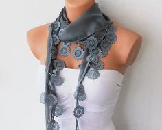 Grey Cotton Scarf with Lace by fairstore on Etsy, $15.00