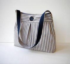 Navy Blue and Cream Pin Stripe Shoulder Bag Purse.  Nice use of striped fabric.