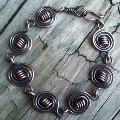 Antique Copper Encircled Wire Work Handcrafted Bracelet | DesignsinCopper - Jewelry on ArtFire