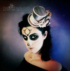 Adult costume mini top hat sugar skull hair flower by TwoBackFlats, $80.00