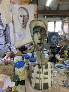 work in progress ceramic sculpture veronicacay Ceramic Sculpture Figurative, Figurative Kunst, Sculpture Head, Paper Mache Sculpture, Ceramic Painting, Ceramic Art, Ceramic Studio, Paperclay, Clay Art