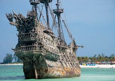 Actual ship used in Pirates Of The Caribbean in Disney Castaway Cay in the Bahamas