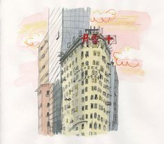 """""""Old Building / Hong Kong"""" Illustrated by Mitsuko OnoderaFrom: """"Mitsuko's Hong Kong Illustration""""(watercolors, colored pencils)"""