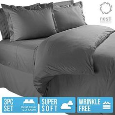 Nestl Bedding Duvet Cover Protects and Covers your Comforter / Duvet Insert 100% Super Soft Microfiber Full (Double) Size Color Charcoal Gray 3 Piece Duvet Cover Set Includes 2 Pillow Shams