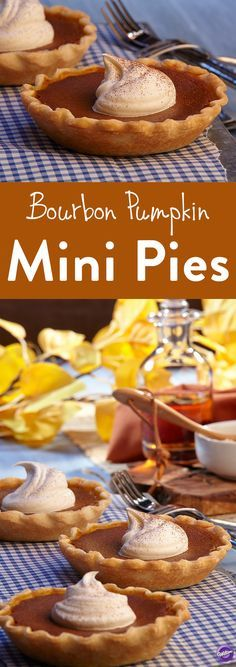 Bourbon Pumpkin Mini Pie Recipe - Enjoy the pick-me-up of Mini Bourbon Pumpkin Pie. Nutmeg, clove and cinnamon showcase their sweet, woody personalities, while ginger offers a hint of spice and heat. Brown sugar brings forth the sweet, slightly bitter taste of molasses, and bourbon adds a touch of warmth and richness. Blended together, these ingredients create a festival of flavor