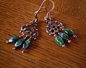 Irish Eyes Are Smiling Copper & Emerald Chandelier Earrings