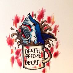 Death before decaf print by Witchhausclothing on Etsy