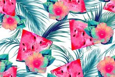 Watermelons,palm leaves pattern by Tropicana on @creativemarket