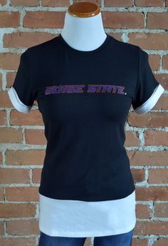 Team 44 Apparel - BOISE STATE UNIVERSITY, COLORBLOCK TEE with Boise State Nailhead Logo