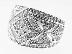 Ladies 1.10 ct Genuine Diamond Vintage Style Cluster Ring 14kt White Gold Size 7