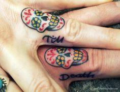 Til death finger skull tattoos! Skull Finger Tattoos, Skull Couple Tattoo, Finger Tattoos For Couples, Finger Tattoo For Women, Finger Tats, Hand Tattoos, Tattoos For Women, Tattoo Finger, Sugar Scull