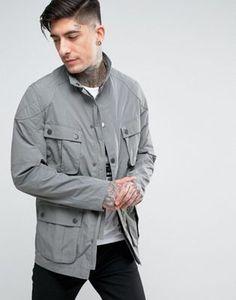 Barbour International Guard Biker Jacket Cotton Slim Fit in Grey
