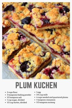 Plum Kuchen Recipe - Food - GRIT Magazine Enjoy a luscious coffeecake with this German-inspired recipe for Plum Küchen. Fruit Recipes, Sweet Recipes, Baking Recipes, Cake Recipes, Dessert Recipes, Plum Recipes Dinner, Plum Recipes Healthy, Recipies, German Desserts