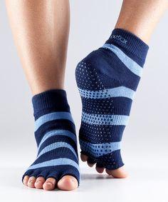 $11 yoga socks ToeSox Blue & Sky Stripe Half-Toe Organic Ankle Socks - Women on zulily 18 nov