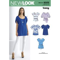 Misses' tunic or top with sleeve variations and tie belt. New Look easy sewing…