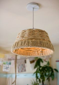 Make your own woven rope pendant light fixture.