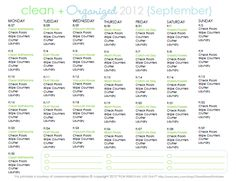 CLEAN MAMA: Clean + Organized 2012 - FREE September Cleaning Schedule