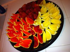 Whipped Cream Strawberry, Lemon Drop, Strawberry-infusion, and Orange jello shots!  Super yum and fun way to enjoy them!  Of course, they were a hit at the party! ;)