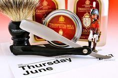 Truefitt and Hill 1805 shave soap, aftershave balm and splash, T&H branded badger brush, Kai folding straight razor, June 1, 2017.  ©Sarimento1