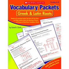 Eight ready-to-go activity packets sharpen students' word-study skills and boost their vocabularies. In each packet, students learn five common Greek and Latin roots and 15 new words formed from these
