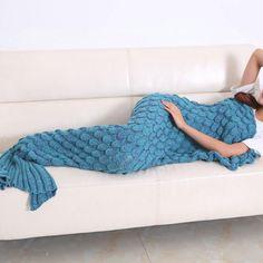 Super Soft Hand Crocheted Knitting Wool Mermaid Tail Sofa Blanket Adult 180X90Cm