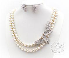 Wedding Necklace Earrings set Swarovski Pearl by PureRainDesigns