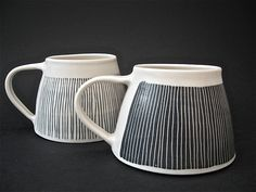 wide based mugs/ cups by vicky hageman Ceramic Tableware, Ceramic Cups, Ceramic Art, Pottery Mugs, Ceramic Pottery, Pottery Art, Slab Pottery, Thrown Pottery, Earthenware