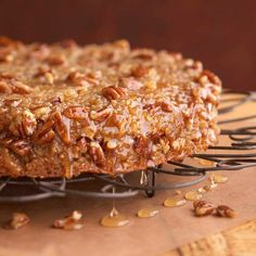 Honey-Glazed Buttermilk Coffee Cake  Use honey, nature's favorite sweetner, to glaze the top of a warm buttermilk coffee cake. Rolled oats and chopped pecans give the cake heartiness; finely shredded lemon peel provides some tart.