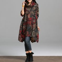 New 2016 Autumn And Winter Fashion National Style Vintage Print Long Sleeve  Loose Comfortable Women Casual Dress Plus Size e30b3e3524f