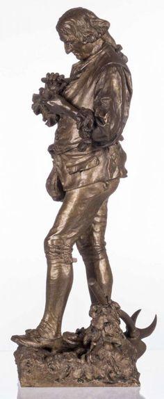 Gaudez A.E., a countryman, patinated bronze, on a Brèche d'Alep marble base, H 68,5 (without base)