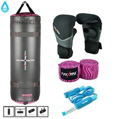 MaxxMMA GreyPink Training  Fitness Heavy Bag Black Washable Heavy Bag Gloves LXL  Blue Weighted Jump Rope  120 Pink Zebra Bamboo Hand Wrap *** Check this awesome product by going to the link at the image.