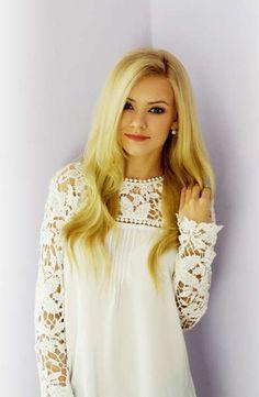 White lace shoulder dress