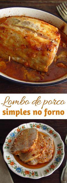 Lombo de porco simples no forno | Food From Portugal. Esta é sem dúvida alguma uma daquelas receitas para preparar num jantar de família! Este lombo de porco no forno é uma receita simples, muito saborosa e reconfortante. Bom apetite!!! #porco #receita #forno