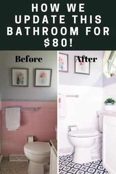 Do you want to update your dated bathroom? Check out how we painted tiles and install peel and stick flooring. This bathroom DIY is easy and affordable. diy bathroom ideas Our Master Bathroom Renovation + Painting over Tile Tutorial — Peony Street 50s Bathroom, Diy Bathroom Remodel, Diy Bathroom Decor, Bathroom Styling, Bathroom Remodeling, Master Bathrooms, Simple Bathroom, Modern Bathrooms, White Bathroom