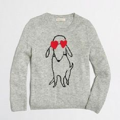 NEW J Crew Factory Girls 14  Intarsia SKETCHY  Dog Heart Glasses Sweater NWT !  #Crewcuts #Pullover #Everyday