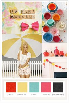 Colour me happy colorboard: cherry, lemonade, aqua, fuchsia, chalkboard.