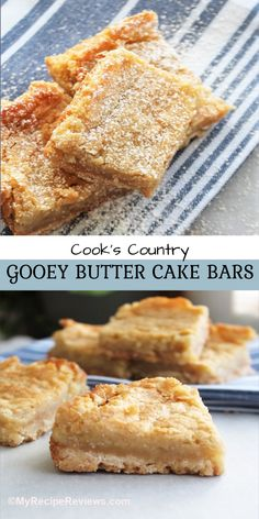 Buttery, rich gooey butter bars from the kitchen of Cook's Country. #MyRecipeReviews #CooksCountry #gooeybutterbars Cake Bars, Dessert Bars, My Recipes, Cookie Recipes, Homemade Shortbread, Gooey Butter Cookies, Time To Eat, Brownie Bar, Food Reviews