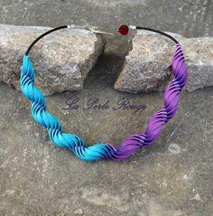 "Collier fimo façon ""Carol Blackburn"" turquoise et violet."