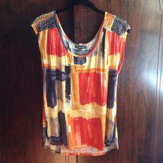 """Anthropologie Color Construction Tee Colorful top by one.september. Beading on the shoulders. Rayon and spandex. 24"""" L. Purchased new from Anthropologie and never actually worn. Anthropologie Tops"""