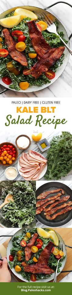 4 Points About Vintage And Standard Elizabethan Cooking Recipes! Upgrade To A Kale Blt Salad With Crispy Bacon, Lemon Juice, And Fresh Grape Tomatoes Get The Full Recipe Here: Https:Paleo. Paleo Salad Recipes, Cookbook Recipes, Whole Food Recipes, Cooking Recipes, Healthy Recipes, Bacon Recipes, Keto Recipes, Paleo Bacon, Juice Recipes