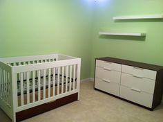 The nursery setup...Baby Mod Parklane crib, Ikea Nyvoll dresser, Ikea Lack wall shelves, and Sherwin-Williams Lima granita wall paint