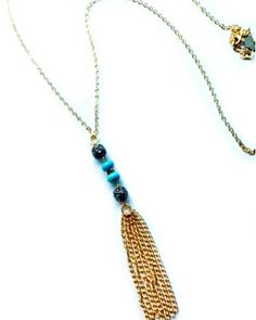 Turquoise and Gunmetal Tassel Necklace by JewelMint.com, $59.98