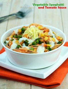 Vegetables and Spaghetti in Tomato Sauce