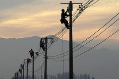 Telephone line workers.( Not telephone line worker)!!!!!