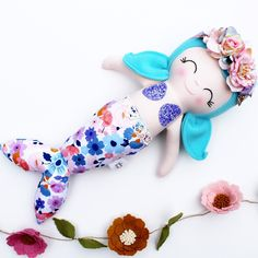Excited to share this item from my shop: Ready to ship Waverly the mermaid Alice In Wonderland Dress, Wonderland Costumes, Dead Bride, Shell Bra, Bride Of Frankenstein, Girls Dress Up, Mermaid Dolls, Floral Crown, Fabric Dolls