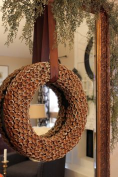 Acorn cap wreath:Sweet Something Designs Spring Front Door Wreaths, Fall Wreaths, Christmas Diy, Christmas Wreaths, Christmas Decorations, Autumn Decorations, Nature Crafts, Fall Crafts, Acorn Wreath