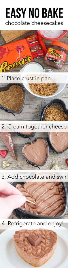 Reese's Chocolate Cheesecake Hearts –These rich and decadent mini cheesecakes are so simple to make and delicious too. An elegant dessert that's perfect for sharing with your sweetheart!