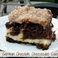 Try German Chocolate Cheesecake Cake! You'll just need 1 - 18.5 oz package Duncan Hines German chocolate cake mix, prepared according to package directions...