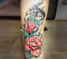 Butterfly and Roses tattoo by Marek Hali | Post 20911