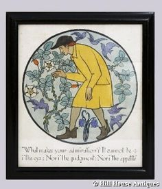 """An extremely scarce original poster print, hand coloured by CFA Voysey himself and signed verso """"CFA Voysey, ARCHT. INVT. Et DELT, 1917"""".  Housed in what appears to be the original ebonised wooden frame. Depicting a typical idealized Voysey view of nature; an artisan stooping to smell a classic Yorkshire rose, surrounded by wheeling birds; the whole roundel over the motto:  """" What makes your admiration? It cannot be i' the eye; nor i' the judgement; nor i' the appetite"""""""
